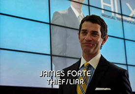 Photo of 	James Frain playing Burn Notice TV character James Forte