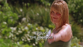 Burn Notice TV character Evelyn played by Lucy Lawless, photo