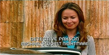 Photo of Moon bloodgood playing Burn Notice TV character Detective Paxson